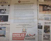Türklerden Washington Posta tam sayfa ilan