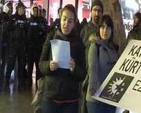 'Katil devlet' diye bağıran kadına polisten tokat gibi yanıt