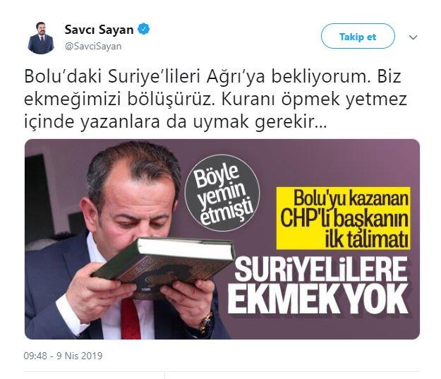 Savcı Sayan'dan Bolu Belediye Başkanı CHP'li Tanju Özcan'ın tepki çeken icraatine cevap! - Takvim